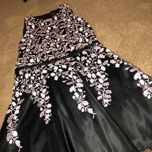 Pink/Purple Flower Lace and Black Dress